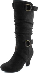 Dailyshoes Women's Slouchy Mid Calf Strappy Boots with Ankle and Top Straps - 2 Heel Fashion Boots-2