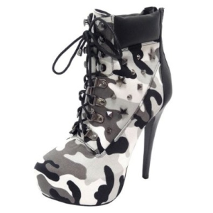 Lilianna CAITLYN-46 Women's Camouflage High Heel Ankle Boots-9
