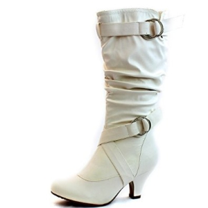 Women's Lala-02 Buckle Straps Low Heel Casual Trendy Round Toe Mid Calf Knee High Boots-3