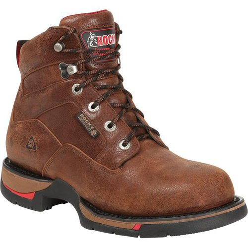Men's Rocky 6 inch Long Range Waterproof Aluminum Toe Work Boots Oak