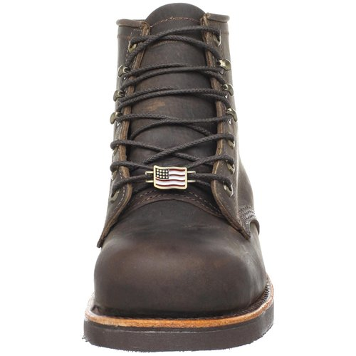 Chippewa Men's Six-Inch Chocolate Apache Steel Toe Lace-Up Boot Front