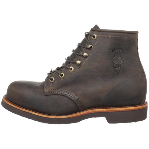Chippewa Men's Six-Inch Chocolate Apache Steel Toe Lace-Up Boot Side