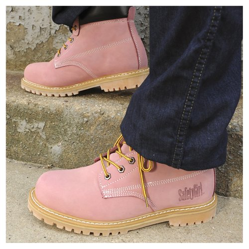 Safety Girl II Steel Toe Waterproof Womens Work Boots - Light Pink4