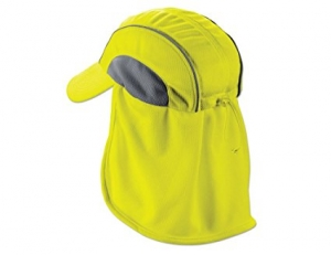 Chill-Its 6650 Absorptive Moisture-Wicking High Visibility Baseball Hat with Neck Shade, Lime