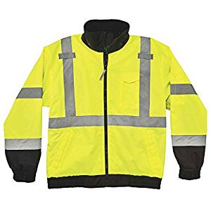 GloWear 8379 ANSI High Visibility Lime Fleece Lined Bomber Jacket, 5XL