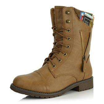 DailyShoesWomens Military Up Buckle Combat Boots Zipper Sweater Ankle High Exclusive Credit Card Pocket