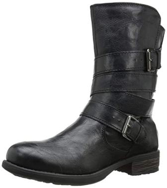 Rampage Women's Islet Motorcycle Buckle Mid-Calf Low heel Boot