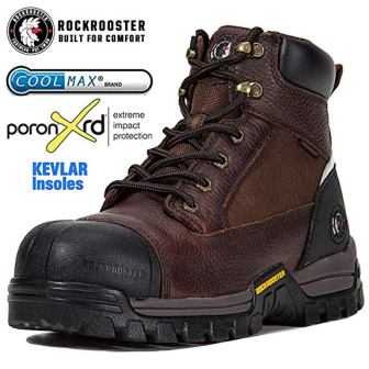 ROCKROOSTER Work Boots for Men, Composite/Soft Toe Waterproof Safety Working Shoes