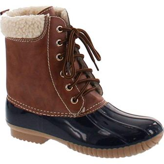 AXNY DYLAN-3 Women's Two Tone Lace Up Ankle Rain Duck Boots
