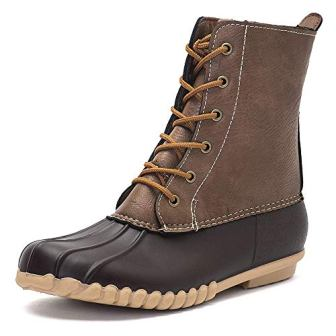 DKSUKO Women's Winter Duck Boots with Waterproof Zipper