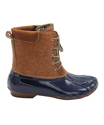 Jessica Carlyle Women Rain Boots Duck Boots Lace Up Two Tone Combat Style Mid-Calf Rain Duck Boots