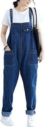 Flygo Women's Loose Baggy Denim Bib Overall