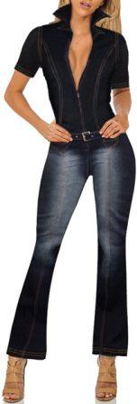 Hybrid & Company Women's Denim Jumpsuit Overalls