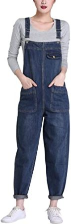 Lentta Women's Loose Baggy Denim Bib Overall