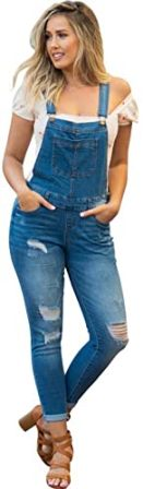 NioBe Clothing Women's Juniors Distressed Denim Overalls