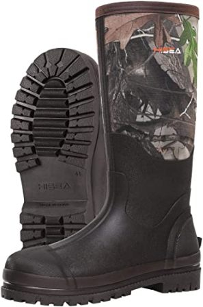HISEA Rubber Work Boots with Neoprene Shaft and Insulated Outsoles
